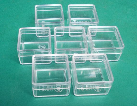 15 pcs. Square shape  clear plastic box by ThaiArt54 on Etsy, $4.95