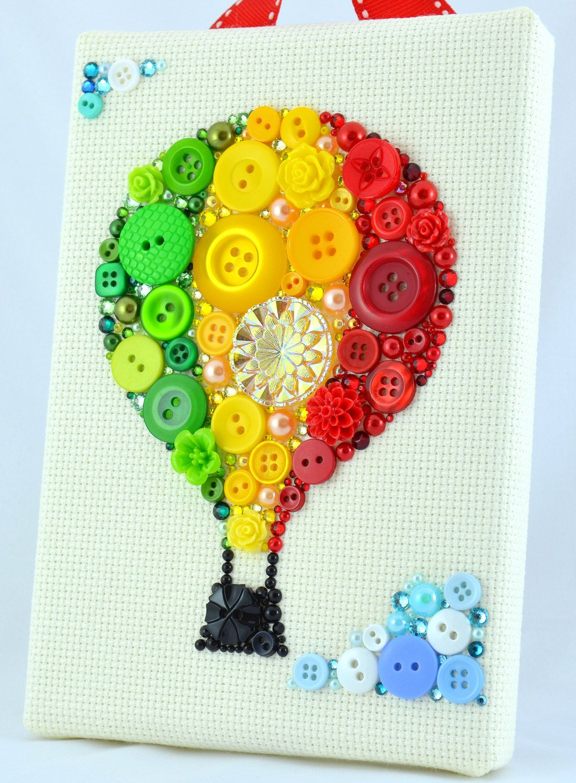 Button Art - Hot Air Balloon - Nursery Decor, Balloon Wall Art, Pink ...