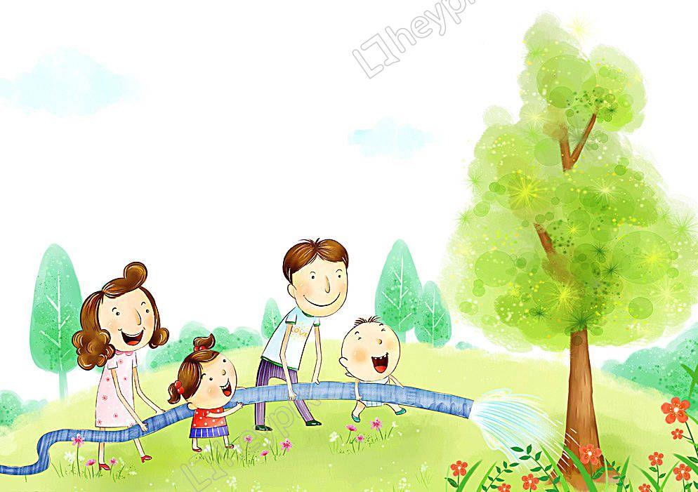 كرتون أمي و أبي زراعة الأشجار والأنشطة في الهواء الطلق الصور Cartoon Trees To Plant Character