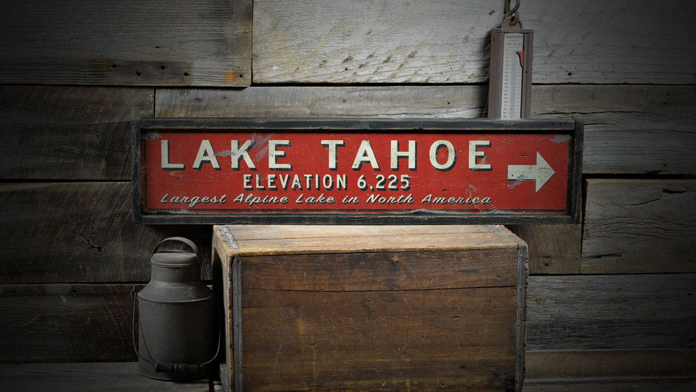 Personalized Lake Tahoe Elevation Sign - Rustic Hand Made Vintage Wooden ENS1000249 by TheLiztonSignShop on Etsy https://www.etsy.com/listing/187136458/personalized-lake-tahoe-elevation-sign