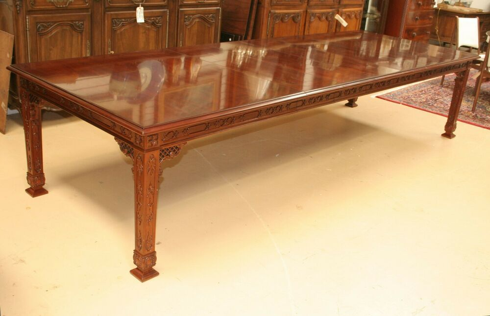 Kindel Furniture Chinese Chippendale Mahogany Dining Table L 11 5 Ft W 4 Leaves Chinesechippendale Kindel Mahogany Dining Table Kindel Furniture Dining Table