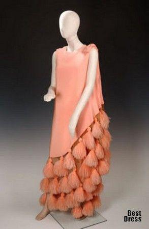 Evening dress, Madame Grès , circa 1966, silk crepe with ostrich feathers, belonged to tobacco heiress & socialite Doris Duke.
