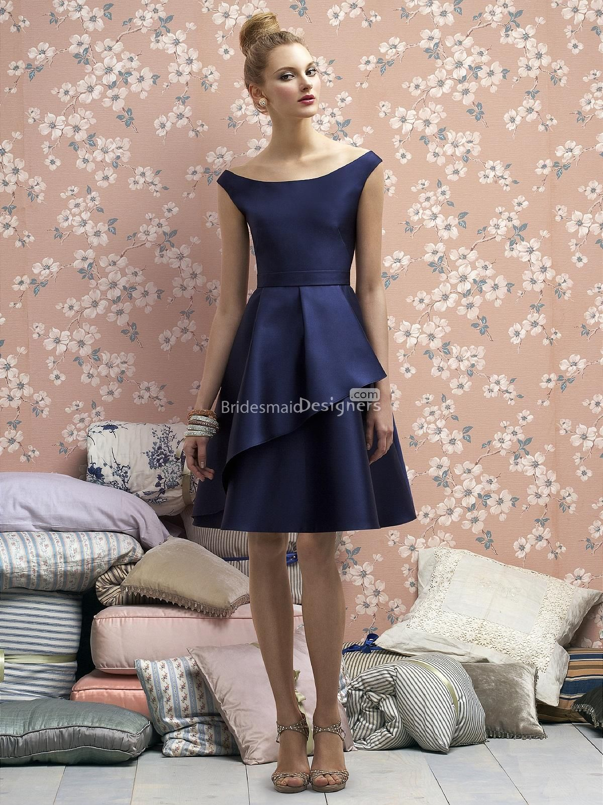 Charming navy blue off the shoulder knee length a line bridesmaid charming navy blue off the shoulder knee length a line bridesmaid dress with belt ombrellifo Gallery