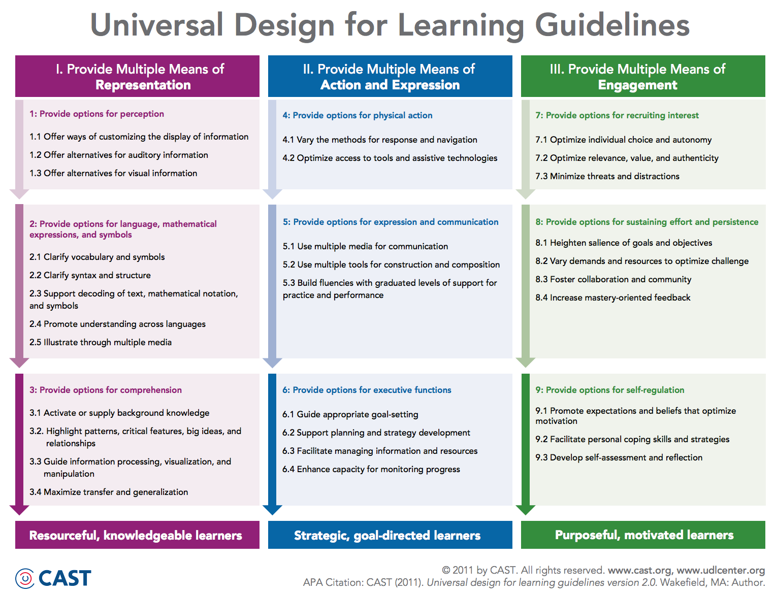 Universal Design For Learning Guidelines Universal Design Curriculum Design Learning Design