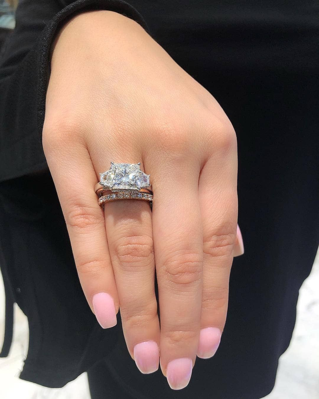 2019 Latest Design 2.40 Ct Princess Cut Three-stone Engagement Ring 14k White Gold Other Fine Rings