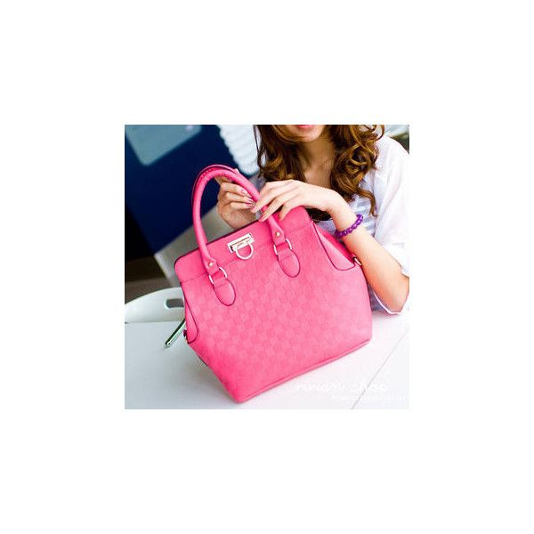 Check Embossed Satchel ($35) ❤ liked on Polyvore