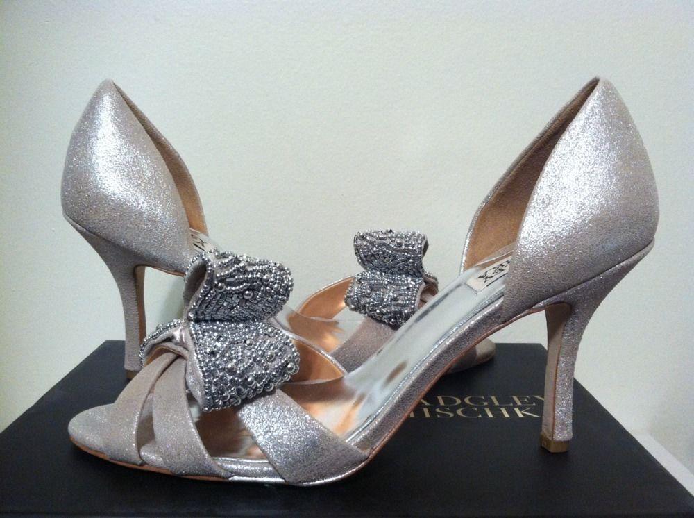 7012e88678d Badgley Mischka Vita Platino Antique Metallic Suede Dressy Evening Heels  9.5 M  BadgleyMischka  DressyEveningHeels
