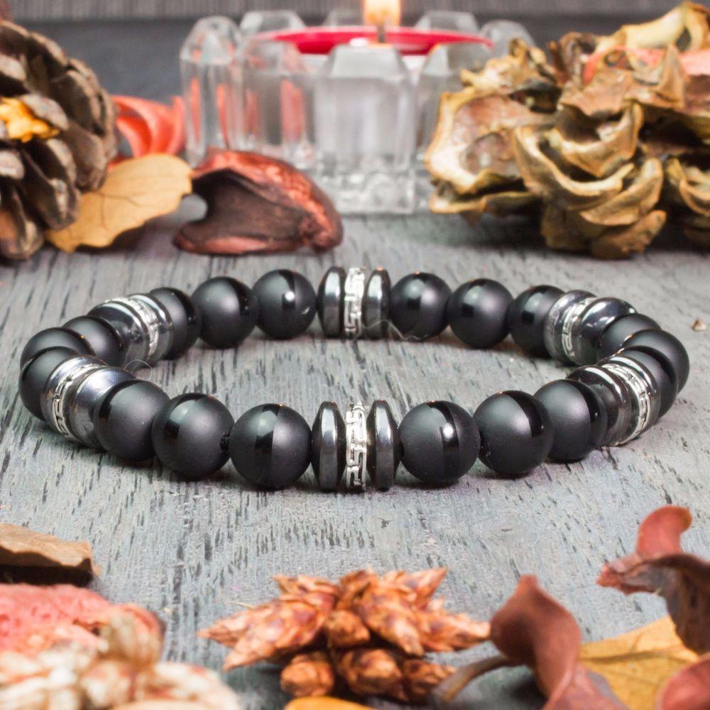 Détails sur New Modèle Bracelet Homme perles pierre gemme Agate Mat noir Hématite Fait Main
