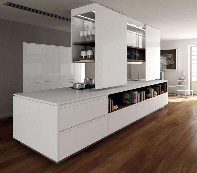Weiß Lack-Küche-Holz Prima Binova-Italienische Möbel Holzboden - küche lackieren vorher nachher