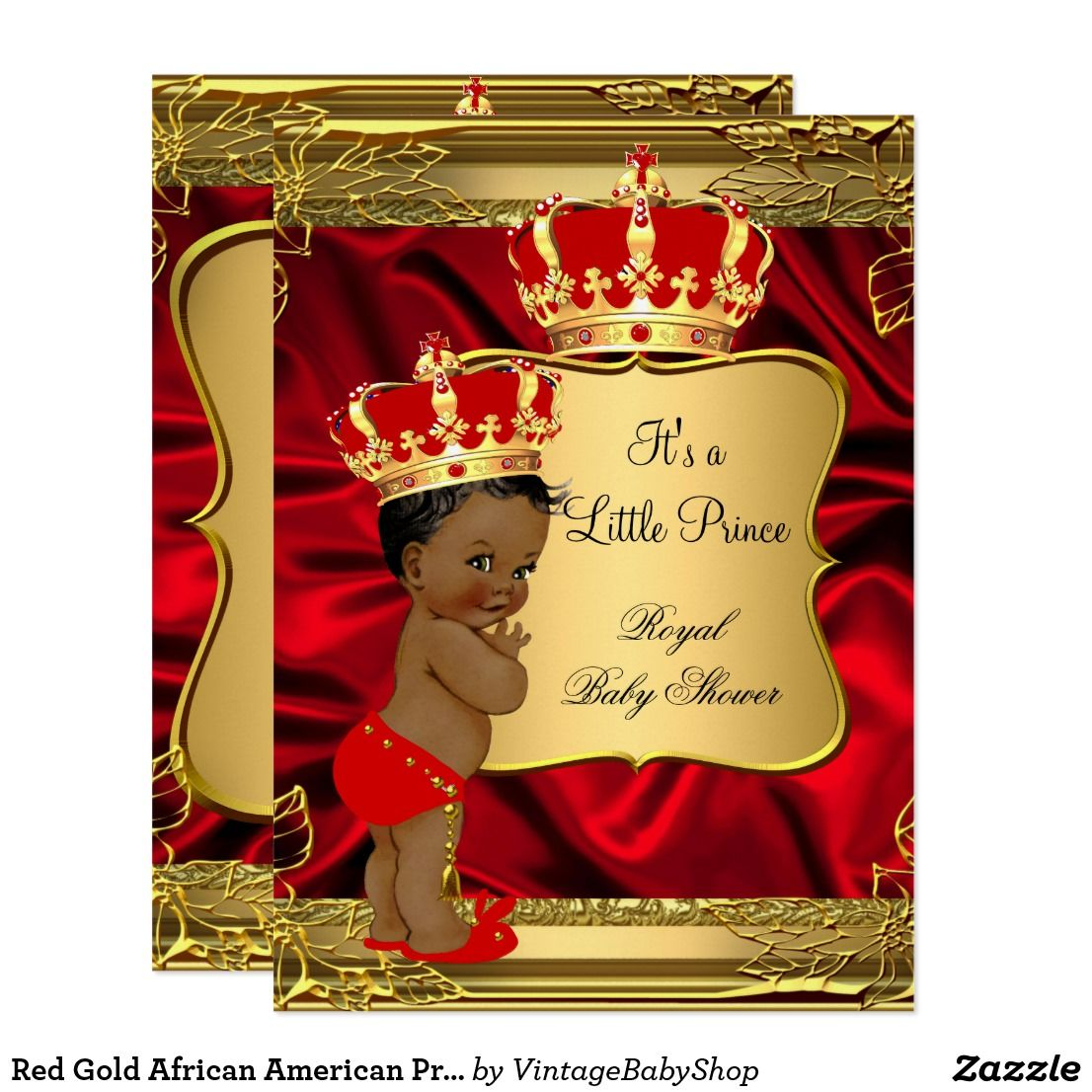 Red Gold African American Prince Baby Shower Invitation | Baby ...
