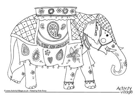 Decorated Indian Elephants Coloring PagesIndianPrintable
