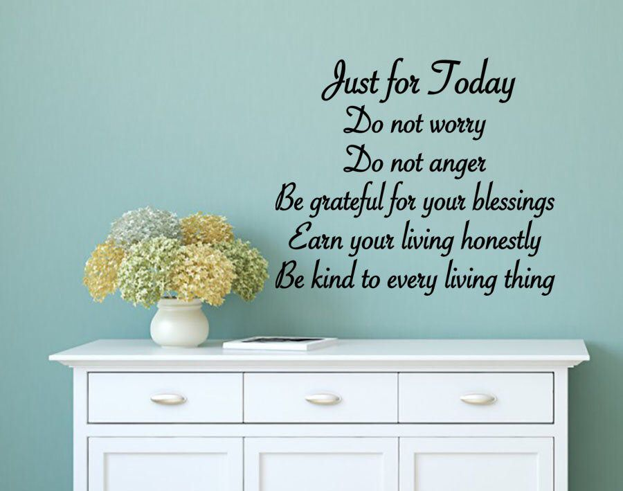 Just For Today 5 Reiki Principles Vinyl WALL ART, New Age ...