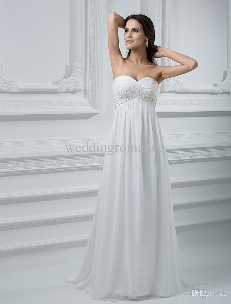 Chiffon wedding dress empire waist  Wholesale Wedding Dress  Buy Romantic Ivory Sheath Sweetheart