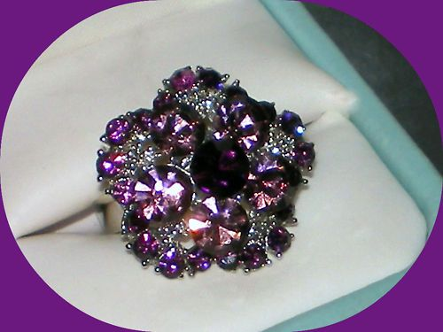 BIG VINTAGE STYLE AMETHYST PURPLE CRYSTAL FLOWER ADJUSTABLE SILVER RING~SZ 7/8/9  Auction with FREE SHIPPING