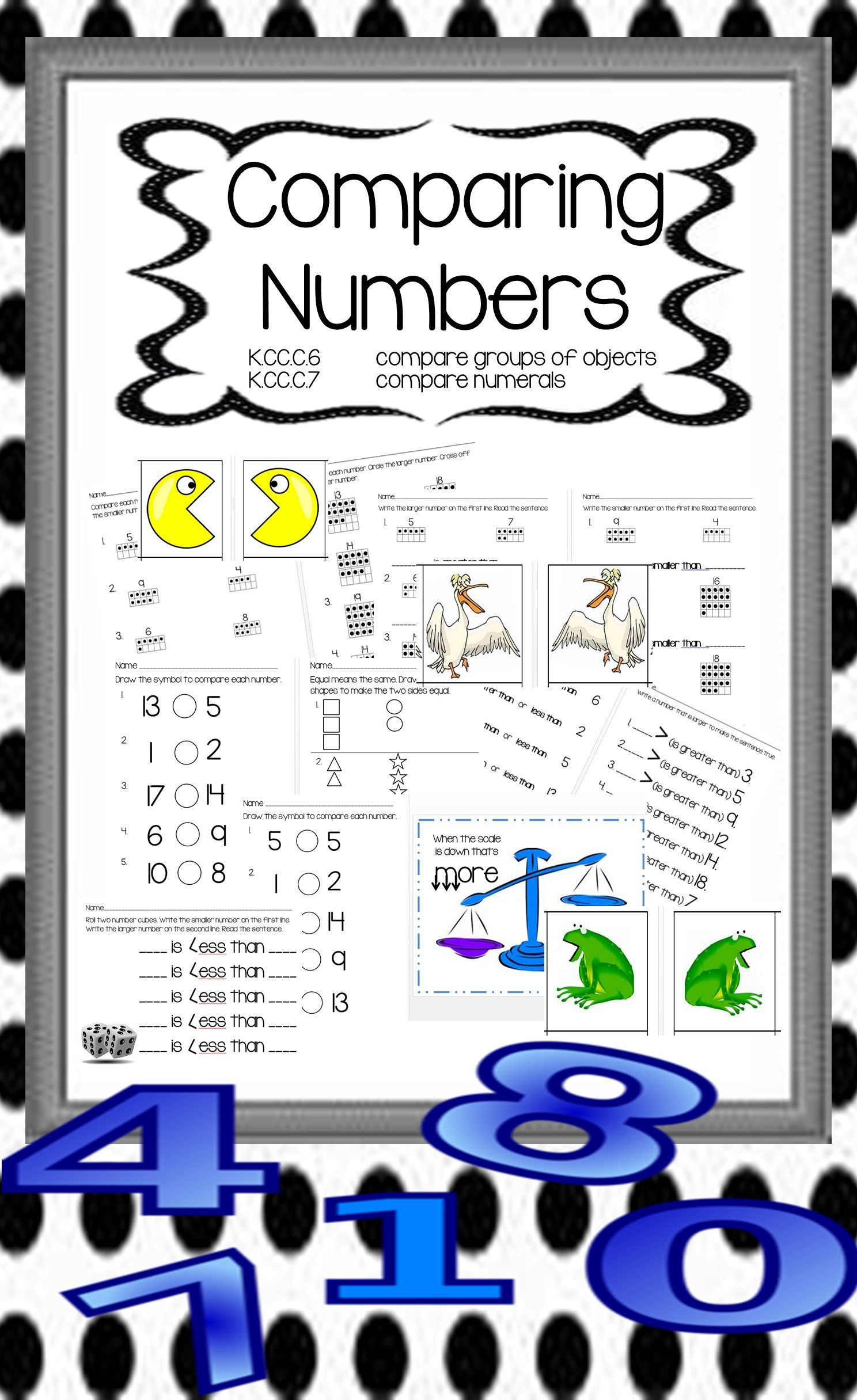 Comparing Numbers 0 20 Kindergarten Math Activities And