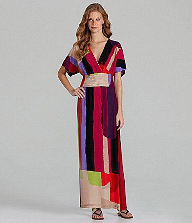 dillards maxi dresses | Calessa Paintbrush Print Maxi Dress ...