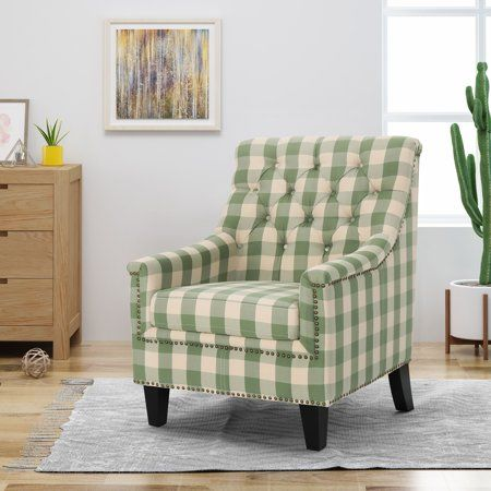 Noble House Courtney Fabric Tufted Club Chair Green Checkerboard