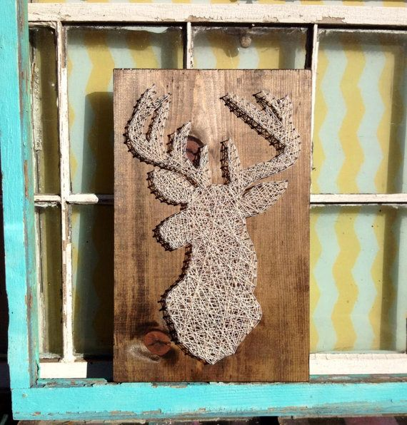 $49 etsy String Art Deer Silhouette Nail Art Buck on Stained Wood ...