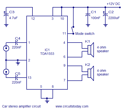 car stereo amplifier circuit using TDA1553 | TAMPON ! ! | Pinterest ...