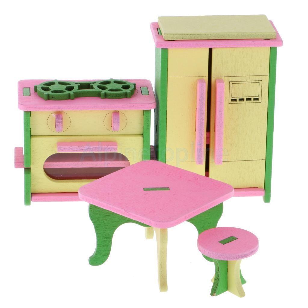 Wooden Kitchen Room Set Simulation Miniature Furniture Dollhouse Wooden Toys