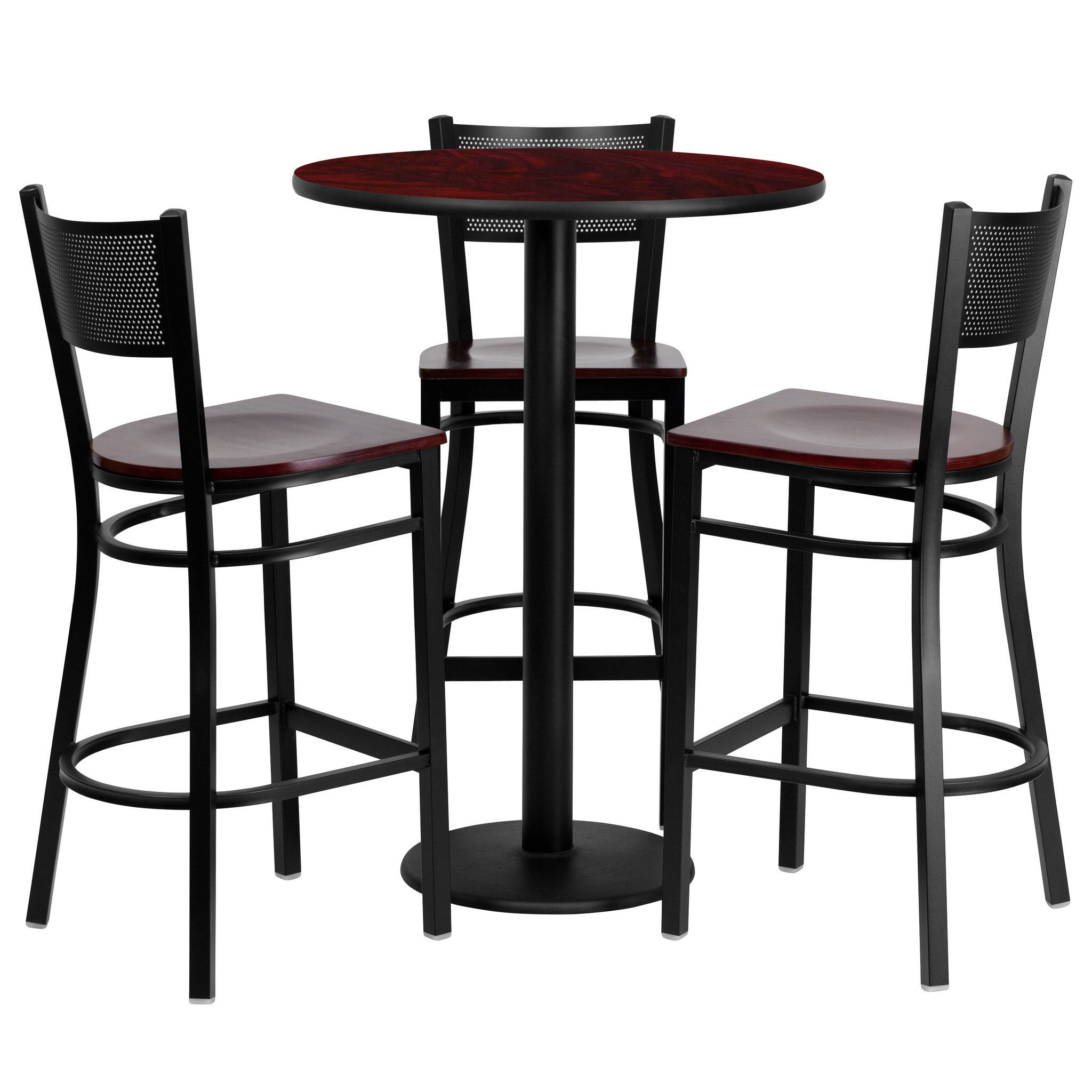 30'' Round Mahogany Table Set with 3 Grid Back Metal Bar Stools