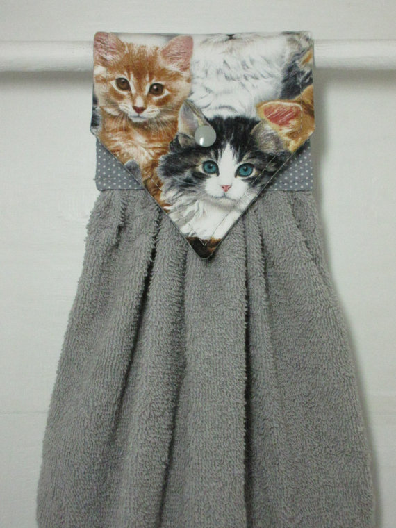 Cat Hanging Kitchen Towel, Cats Hanging Hand Towel, Kittens Gray Kitchen  Decor, Kitten