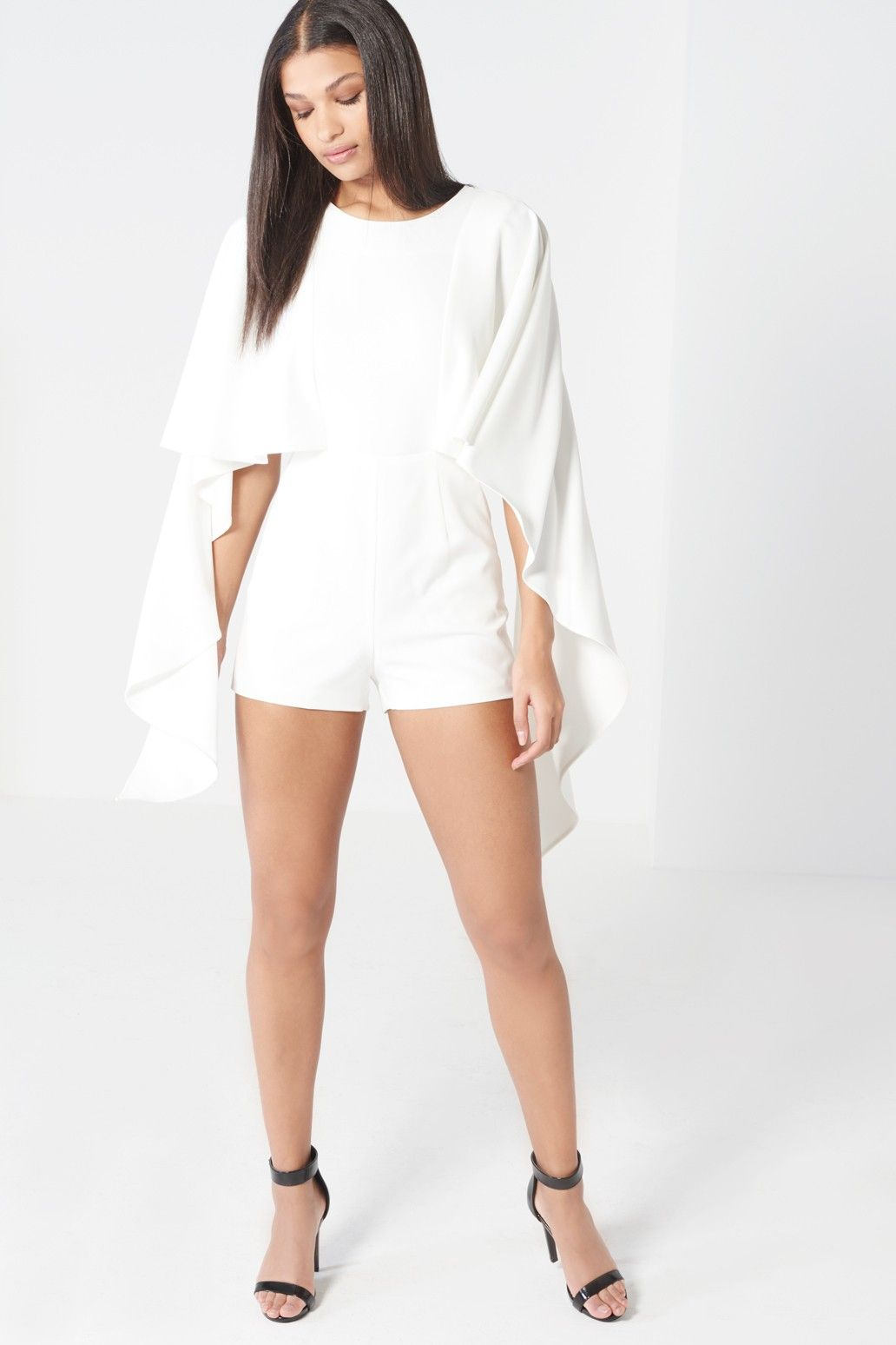 452eb3295c Off White Open Tie Back Cape Playsuit