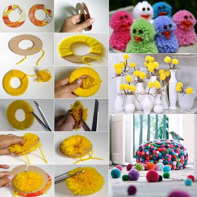 Learn How To Make Pom Poms And Craft Decorative Items From Them - How to make home decoration items