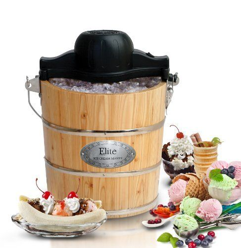 Maxi-Matic EIM-502 Elite Gourmet 4-Quart Old-Fashioned Pine-Bucket Electric/Manual Ice-Cream Maker by Maximatic, http://www.amazon.com/dp/B00121VTTM/ref=cm_sw_r_pi_dp_m4g4rb1E6PFWV