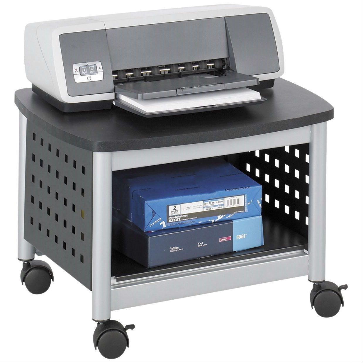 Under Desk Printer Stand Mobile Office Cart In Black Silver Printer Stand Safco Modern Desk Accessories
