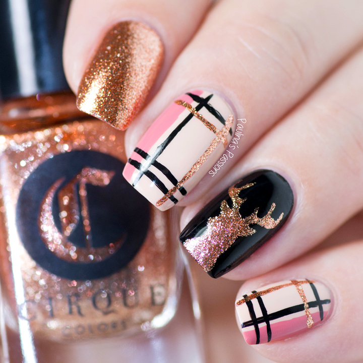 Nail Art Tutorial All I Want For Christmas Is Plaid: Reindeer And Plaid Nail Art Tutorial
