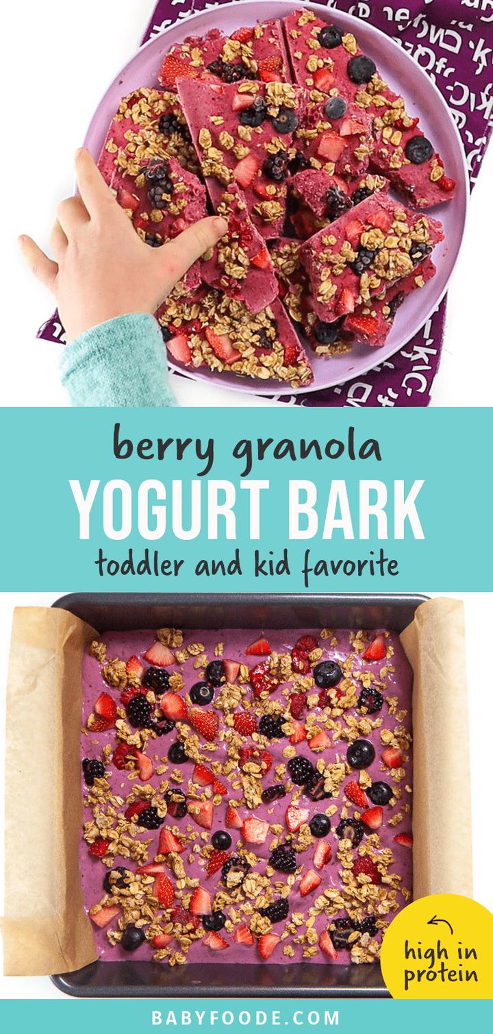 Berry Granola Yogurt Bark Toddler Kid Approved Baby Foode Recipe Healthy Sweet Snacks Yogurt And Granola Healthy Snacks Easy
