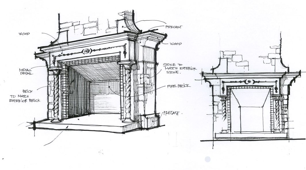 Fireplace Design fireplace drawing : fireplace design sketch by DM | Design Sketches by DM | Pinterest ...