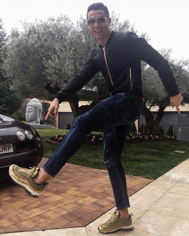 Cristiano Ronaldo Steps Out In Dolce & Gabbana Jacket, Dsquared2 Jeans And Nike  Sneakers