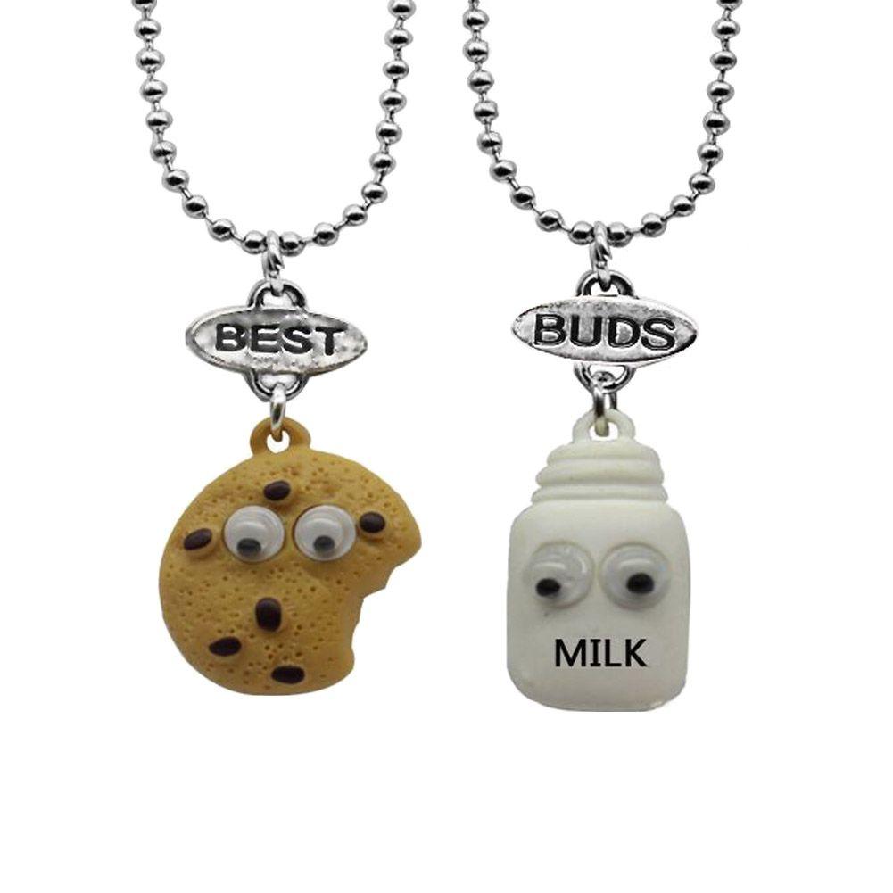 Free Shipping Best Friends Pendant Bead Chain choker Necklace Milk