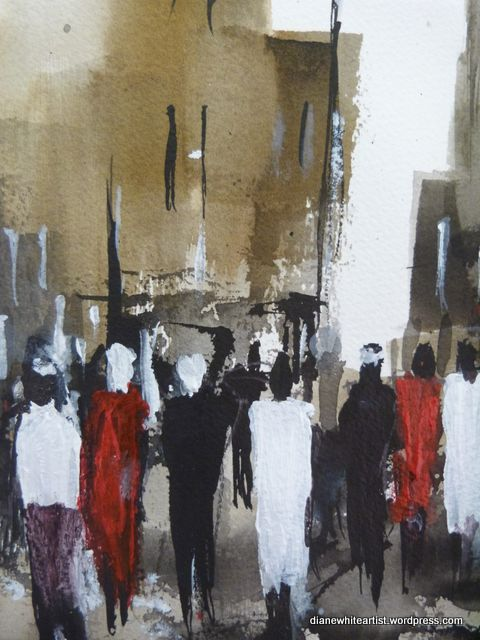 Streets of Cairo Acrylic painting