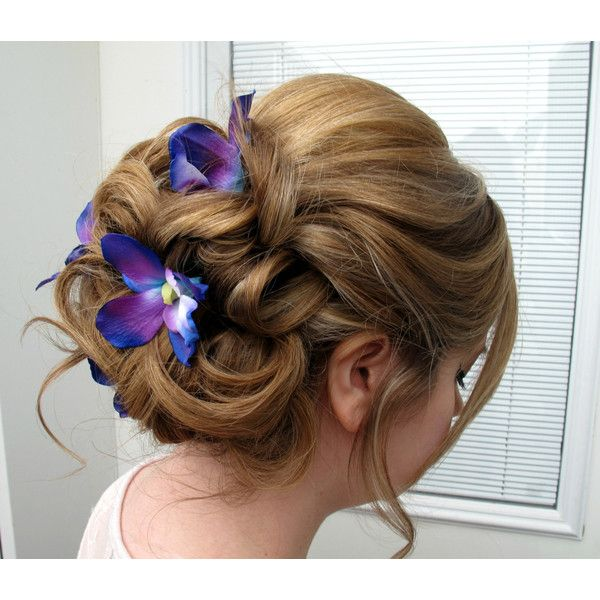 Wedding Hair Accessories Blue Purple Dendrobium Orchid Bobby Pins Set Of 4 Bridal Hair Flowers Flowers In Hair Wedding Hairstyles Blue Orchid Wedding