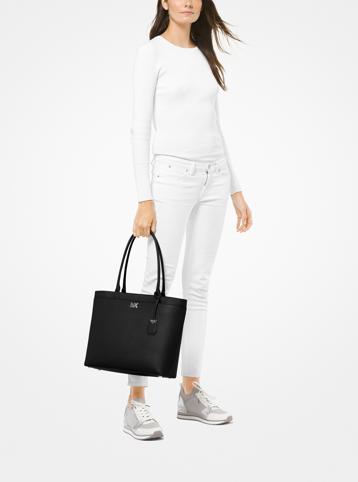 ac2e36cc5ef06 Michael Kors Maddie Large Crossgrain Leather Tote - Pearl Grey ...