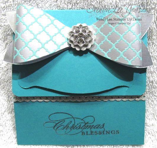 Bermuda Bay Elegant Gift Card Holder, gift bow die, SU, by Wendy Lee, #creativeleeyours, Stampin Up!,