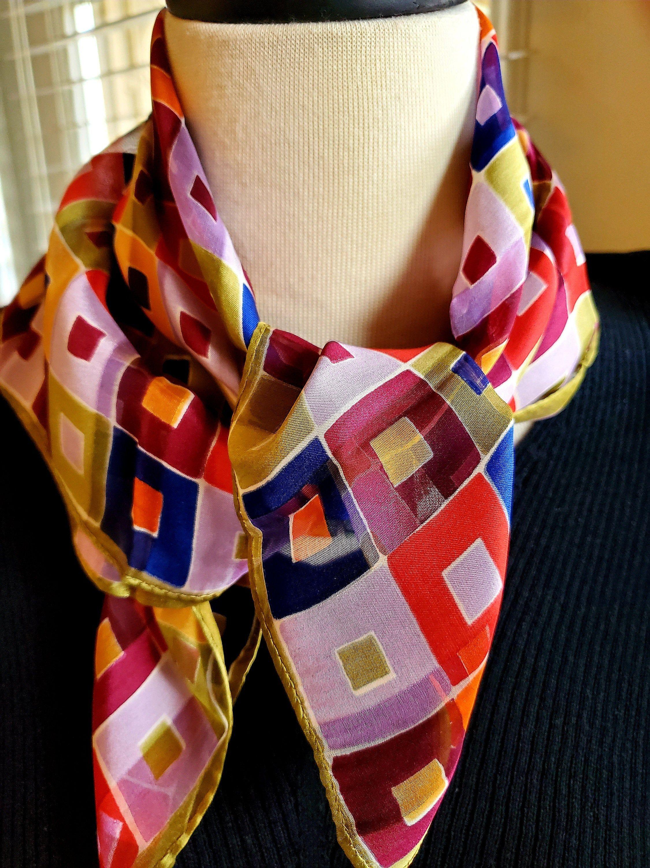 Sheer Silk Scarf in Stripes