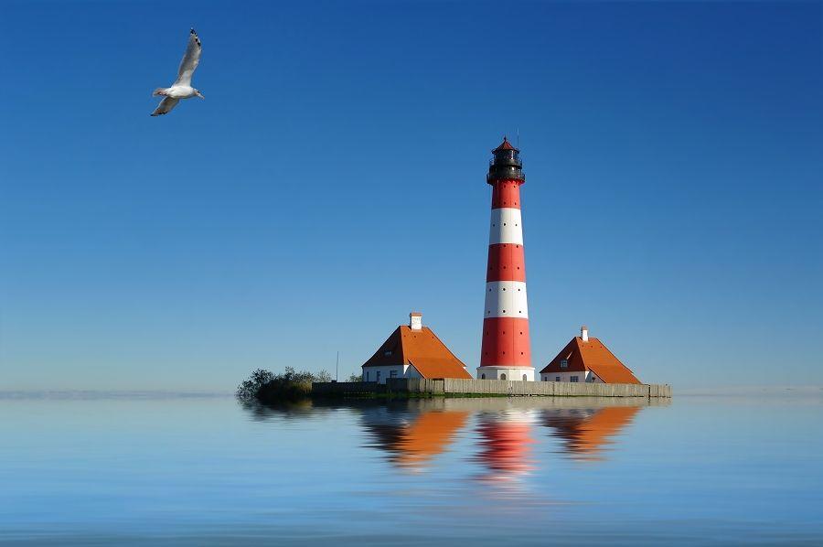 Westerhever Lighthouse - Nordfriesland, Germany high tide