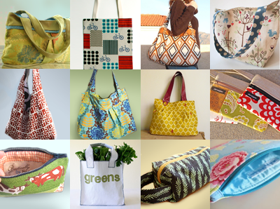 patterns and tutorials for totes, purses, pouches and bags.