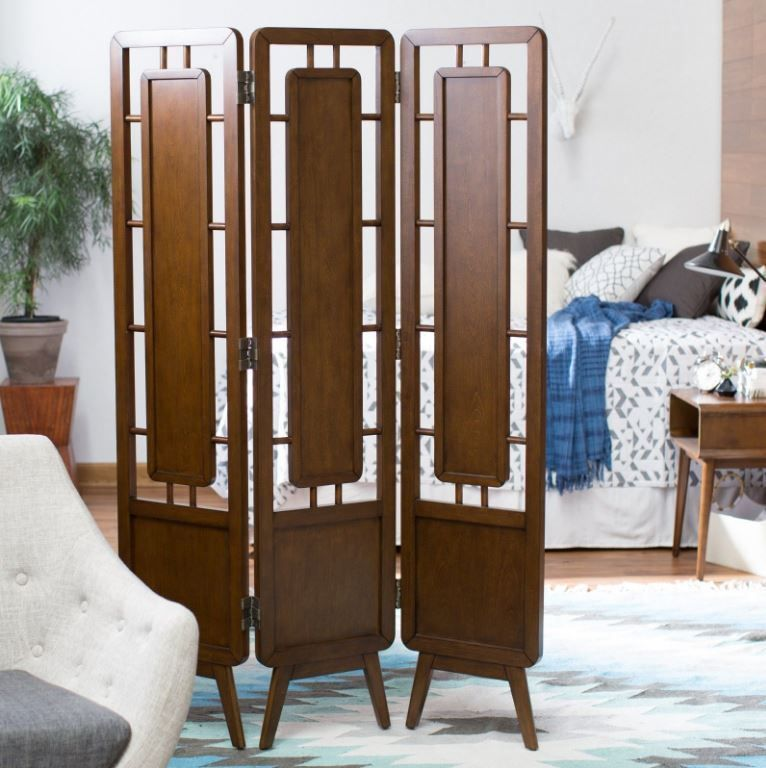 Walnut Finish 3 Panel Room Divider Mid Century Design Screen Home Furniture Homeconcepts