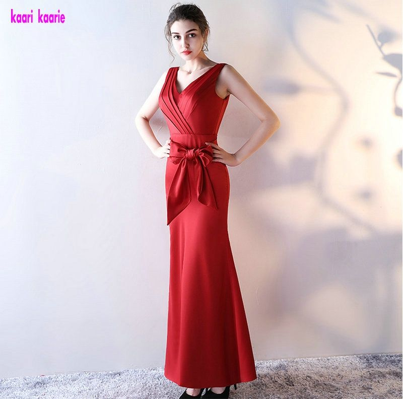d909cae5548 Fashion Red Mermaid Evening Dresses 2017 New V-Neck Satin Pleat Lace-Up Prom  Dress Long A-Line Floor-Lingth Evening Party Gowns