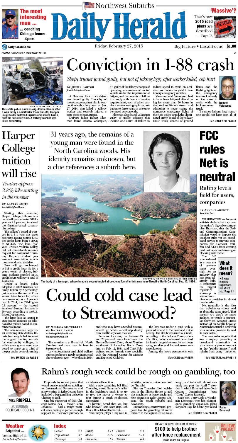 Daily Herald front page, Feb. 27, 2015; http://eedition.dailyherald.com/