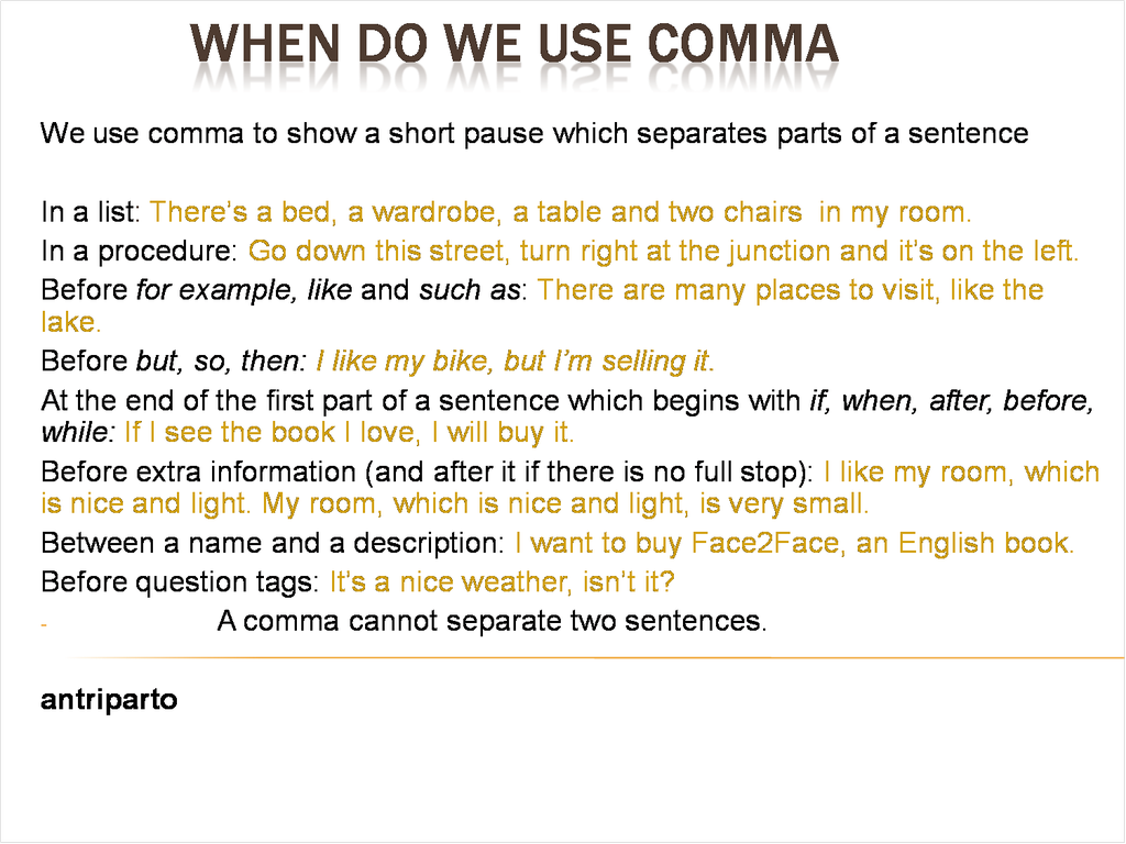 When Do We Use Comma