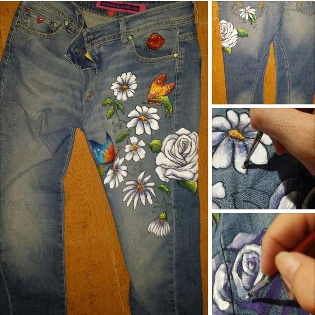 Pantalon Pintado A Mano Alzada Pintura Para Ropa Pantalones Pantalones Jeans