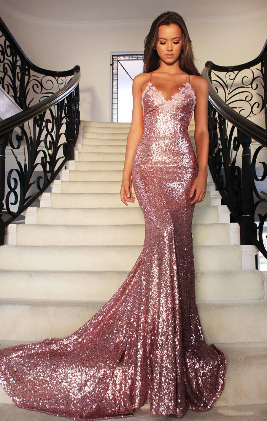 Sexy sparkling rose gold sequin mermaid prom dress prom
