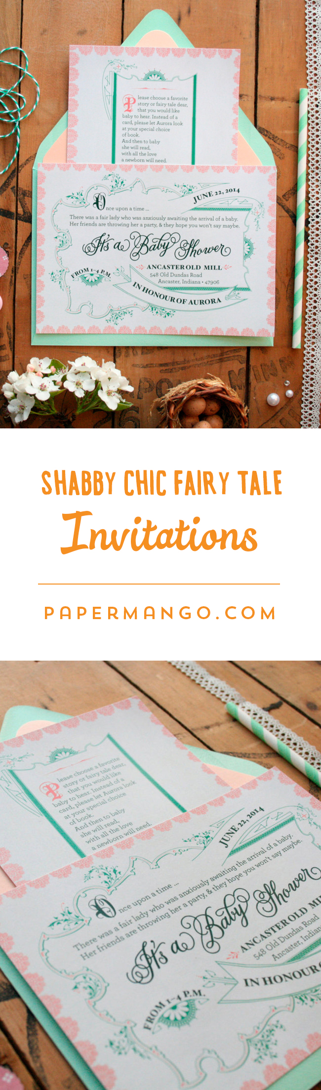 I love these feminine baby shower invitations for a nursery-rhyme themed party! $1.49+ from Paper Mango #baby #shower #invitations #shabby #chic