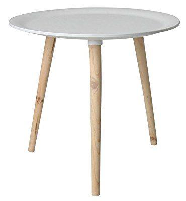Retro Beistelltisch rund - 48 cm weiß - Holz Tisch Couchtisch - outdoor küche holz